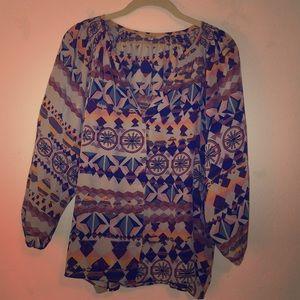 Tucker multi-colored, geometric button down blouse